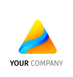 yellow and blue triangle logo vector image