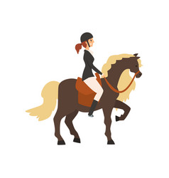 Young woman riding horse equestrian professional vector