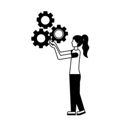 young woman with gear machine isolated icon vector image