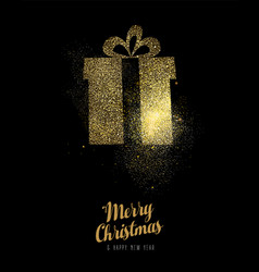 christmas and new year gold glitter gift box card vector image