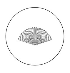 Folding fan icon in outline style isolated on vector