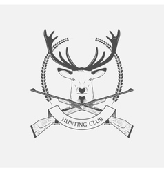 Hunting Club icon with a rifle and deer vector image