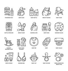 modern line icon of breastfeeding baby vector image