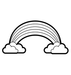 rainbow with clouds cartoon vector image