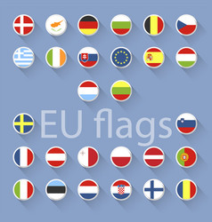 Set of european union flags flat design vector