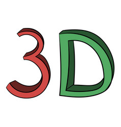 3d word written color icon cartoon vector image