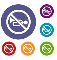 no horn traffic sign icons set vector image vector image