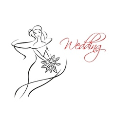 Outline silhouette of bride with flowers vector image vector image