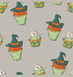 seamless halloween party pattern wrapping with vector image vector image