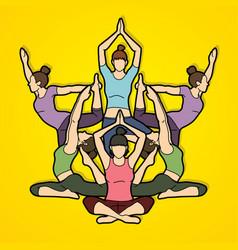 yoga class women training yoga graphic vector image