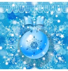 Blue Christmas greeting card vector image
