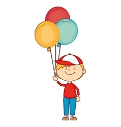 boy cartoon balloons happy isolated design vector image