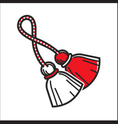Red and white brushes on rope vector
