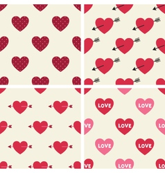 Seamless hearts patterns set vector image vector image