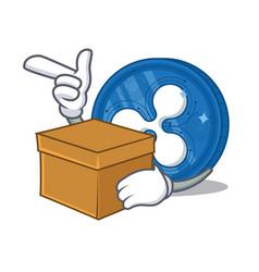 With box ripple coin character cartoon vector