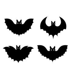 bats black set isolated on white background vector image