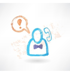 Brush icon with man and a handset vector image vector image
