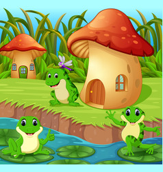 frogs around a mushroom house vector image