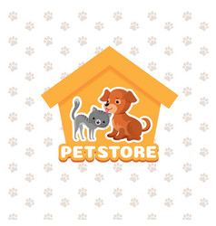 pet store background with happy pets vector image