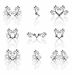 set of floral ornament vector image