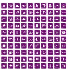 100 marine environment icons set grunge purple vector