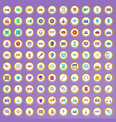 100 multimedia icons set in cartoon style vector image