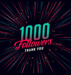 1000 social media followers template design vector