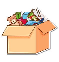 A box full kid toys in sticker style vector