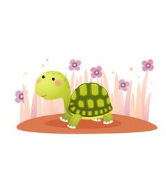 A cute cartoon tortoise crawling vector