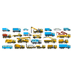 a large set of construction equipment wheeled vector image