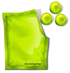 A pack of green throat lozenges vector