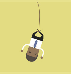 african businessman bungee jumping vector image