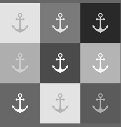 anchor icon grayscale version of popart vector image