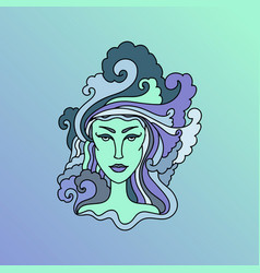 aquarius girl portrait zodiac sign simple vector image