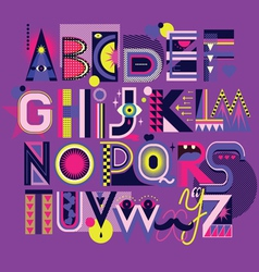 art neon font vector image