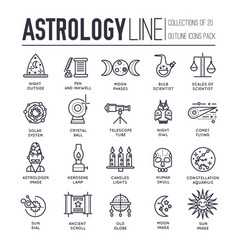 Astrology house thin line icons design vector