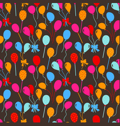 Balloons and confetti seamless pattern birthday vector