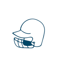 baseball helmet icon in doodle style isolated on vector image