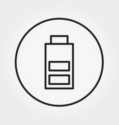 battery with an average charge icon line vector image