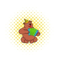 Bear plays the harmonica comics icon vector