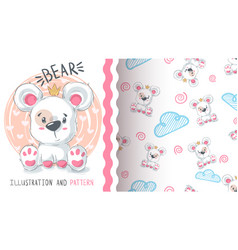 bear with heart - seamless pattern vector image