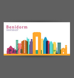 benidorm colorful architecture vector image