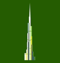 Burj khalifa tower icon uae dubai symbol gray vector