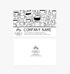 Business cards with hand drawn doodle coffee icons vector