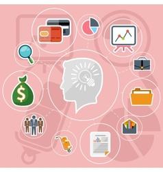 Business management flat design icons set vector