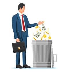 Businessman hand putting money in trash vector