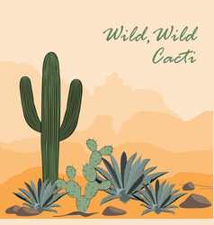 cactus opuntia and agave in desert vector image