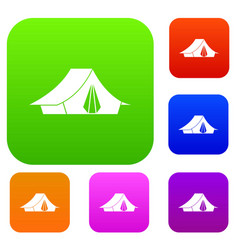 camping tent set collection vector image
