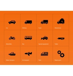 Cars and Transport icons on orange background vector image