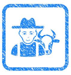 Cattle farmer framed stamp vector